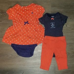Carter's 4 PC Sailing Baby Girl Outfits dress